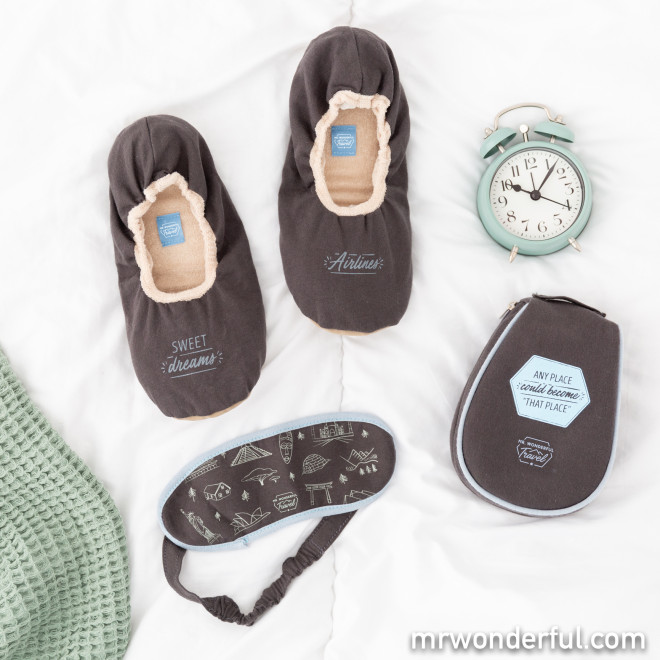 """Slippers and sleep mask set - Any place could become """"that place"""""""