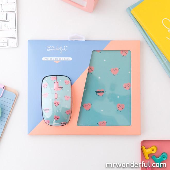 Mouse and mousepad set - Hearts