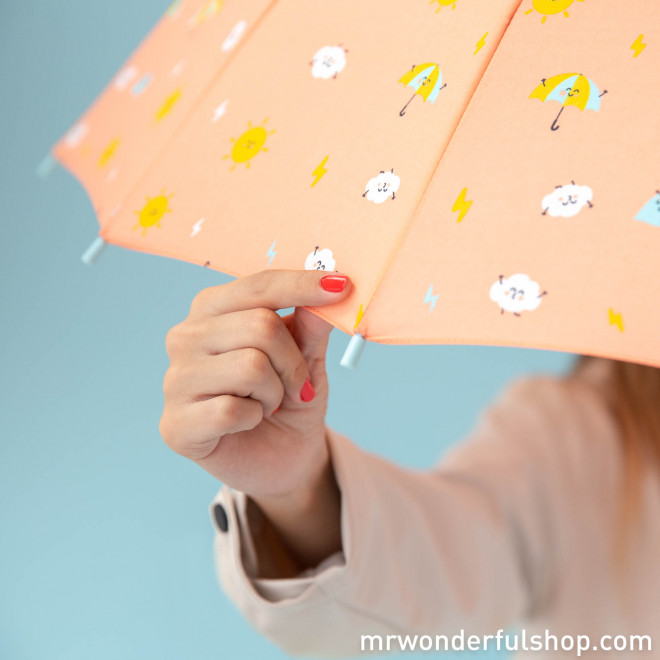 Large-sized umbrella coral colour - Water drops pattern