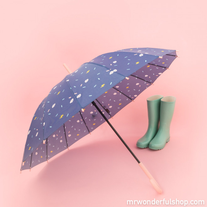 Large-sized umbrella purple colour - Clouds pattern