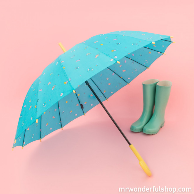 Large-sized umbrella turquoise colour - Sketch Line
