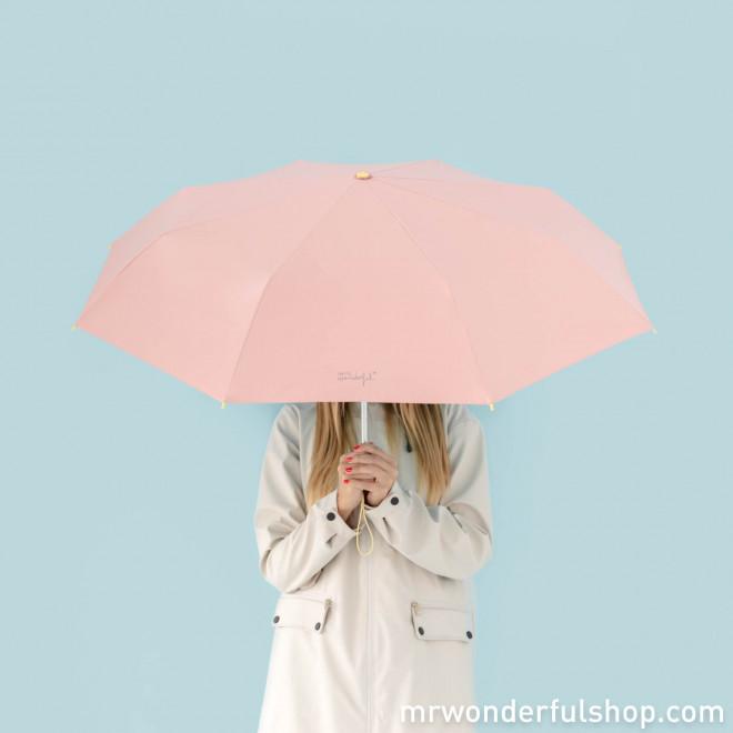 Paraguas mediano rosa - Estampado interior