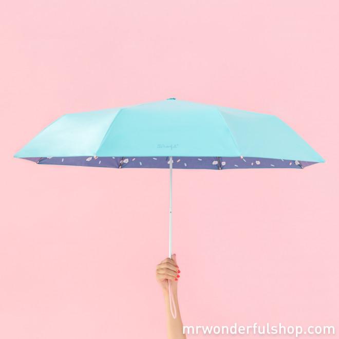 Paraguas mediano azul - Estampado interior nubes
