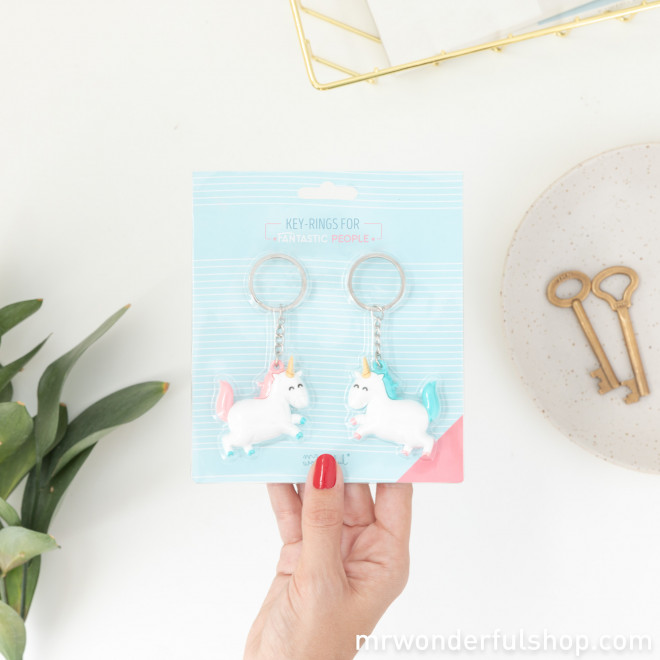 Set of 2 unicorn keyrings for fantastic people