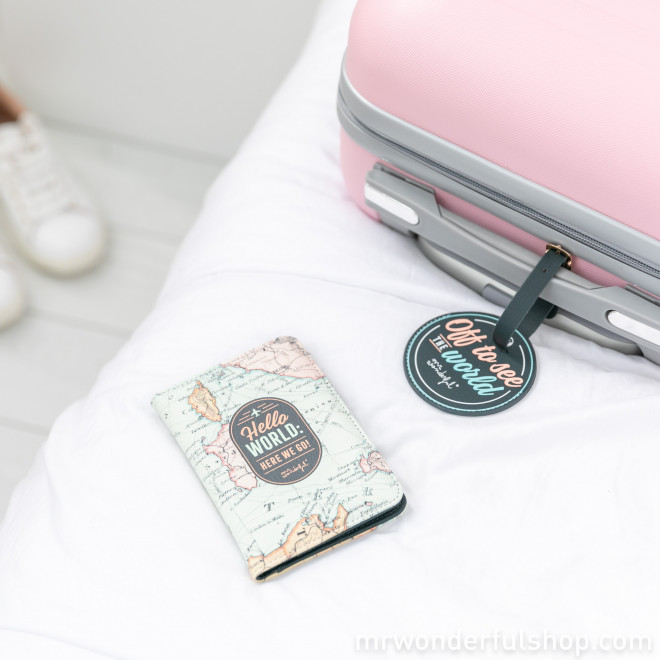 Passport holder and luggage tag set to travel the world