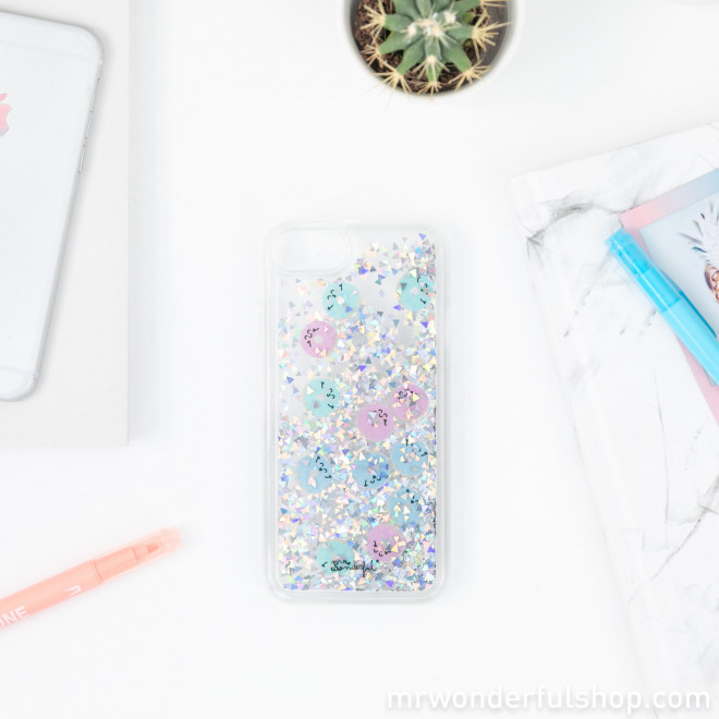 Transparent glitter case for iPhone 6/7/8 - Donuts