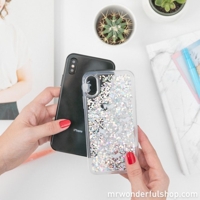 Transparent glitter case for iPhone XS - Unicorns