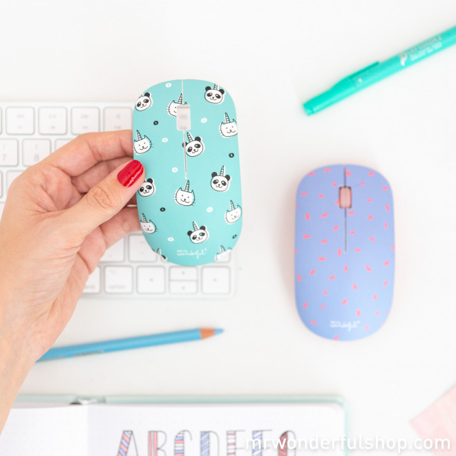 Wireless mouse with 2 covers - Unicorn animals