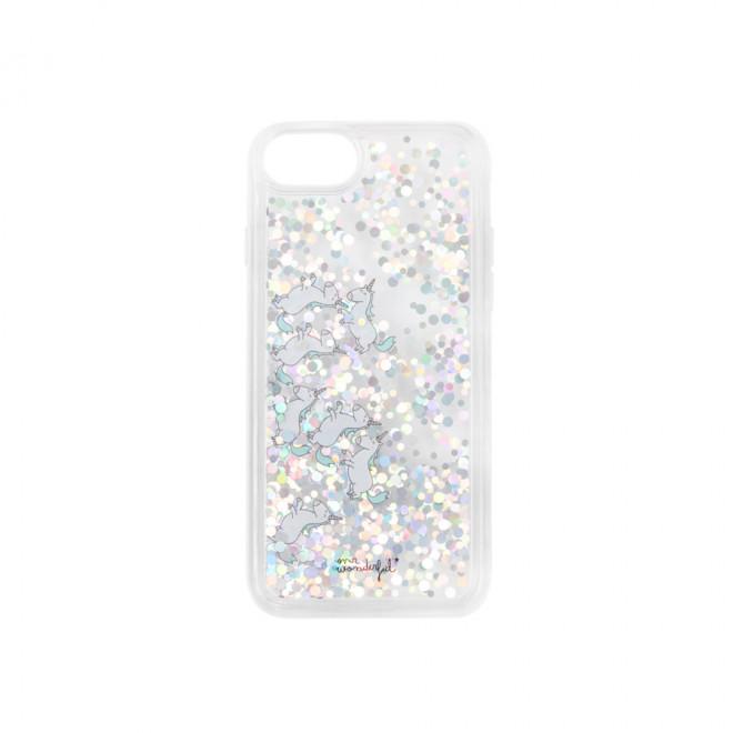 Transparent glitter case for iPhone 6/7/8 - Unicorns