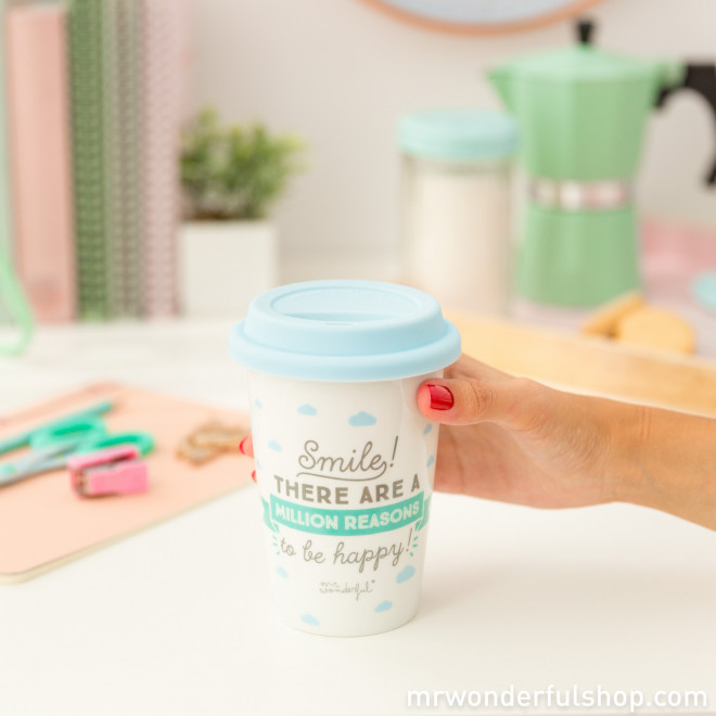 """Take away cup """"Smile! There are a million reasons to be happy! (ENG)"""