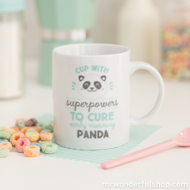 "Mug ""Superpowers to cure early morning panda bear eyes"" (ENG)"