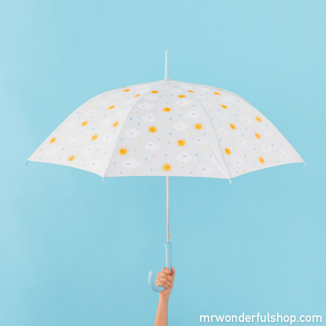 Large-sized umbrella grey with a cloud pattern