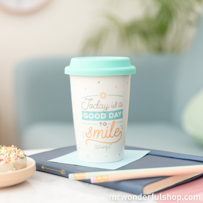 Travel cup - Today is a good day to smile - Mr. Wonderful