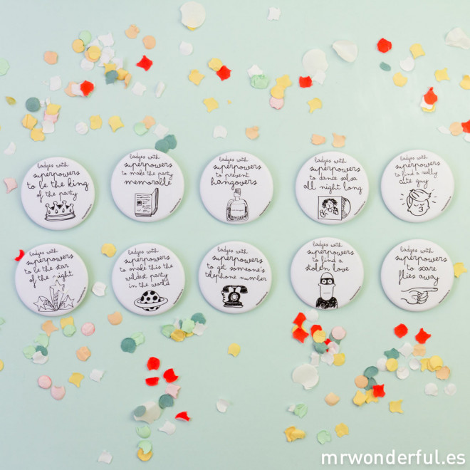 Badges with superpowers for celebrations (10 u)