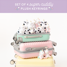 Set of 4 super cuddly plush keyrings