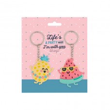 Set of 2 keyrings - Life's a party when I'm with you