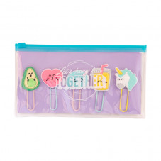 Pencil case with set of character clips - Let's have fun together