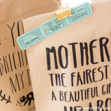 Pack of 5 Kraft bags - Mother of the fairest love, a beautiful gift from up above