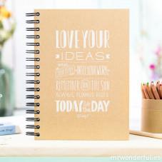 """Love your ideas"" kraft notebook"