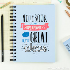 Colour notebook with superpowers to have great ideas