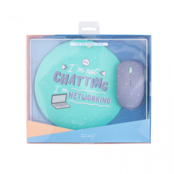 Mouse and mousepad set - I'm not chatting, I'm networking