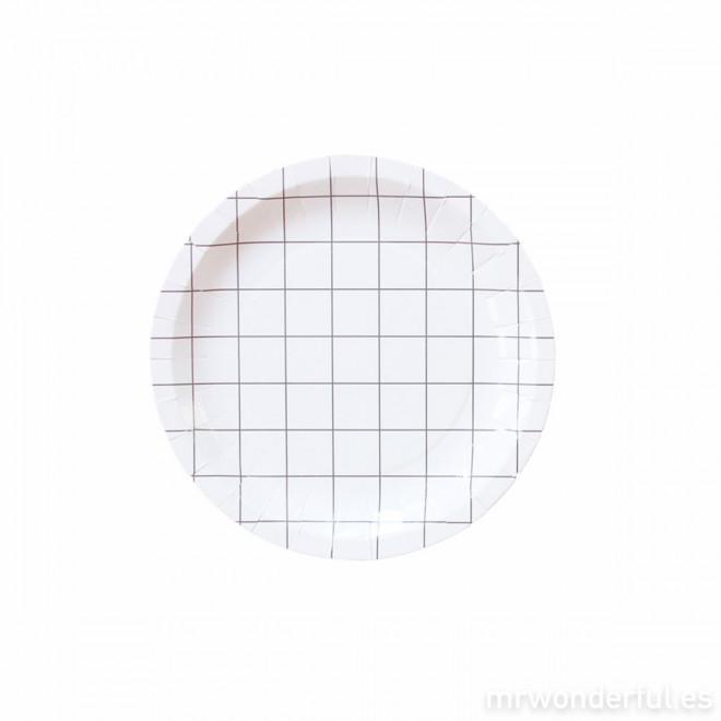 Assiette en carton petit format - quadrillage