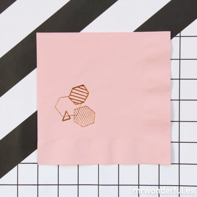"""Serviettes papier - """"geo"""" rose"""