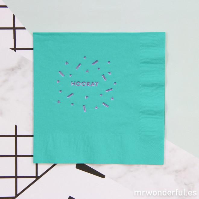 "Serviettes en papier ""Hooray"" - bleu"