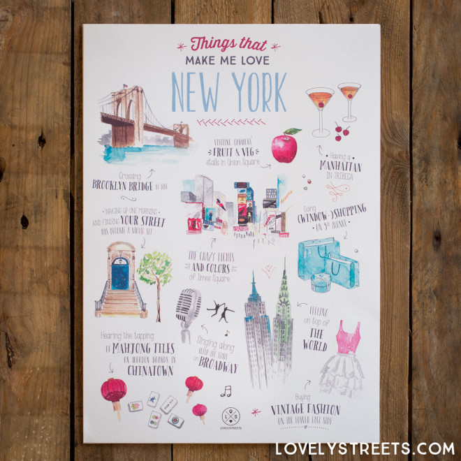 Affiche Lovely Streets - Things that make me love New York (ENG)
