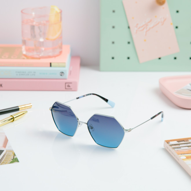 Gafas de sol Trendy metal hexagonales - Azul claro + plata