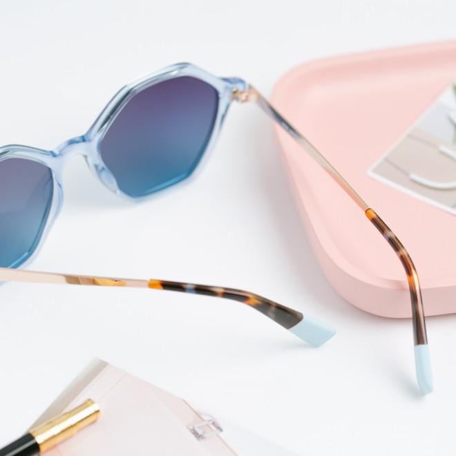 Gafas de sol Trendy inyección + metal hexagonales - Azul claro + oro