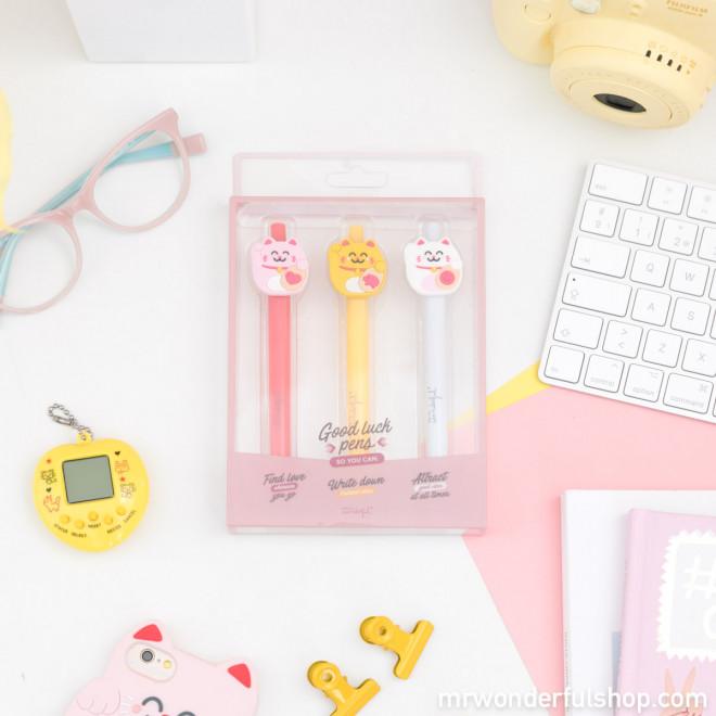 Pack de 3 stylos avec Maneki-neko - Lucky Collection