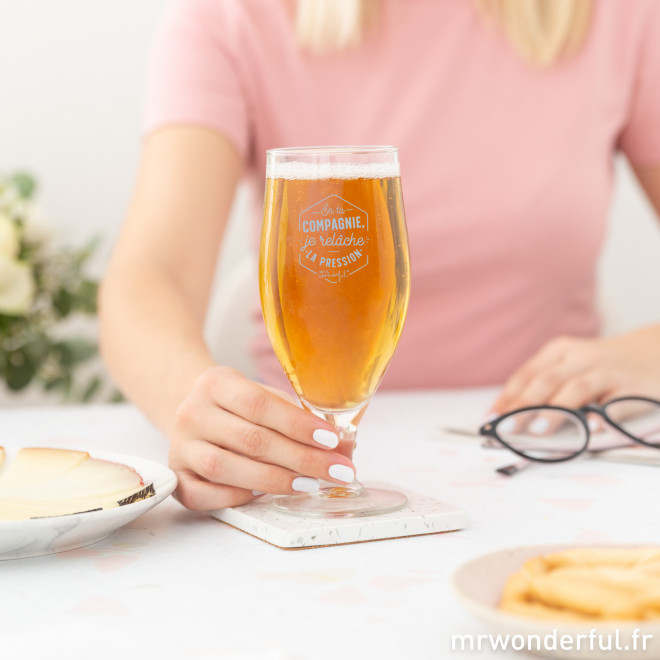 Verre à bière - En ta compagnie, je relâche la pression