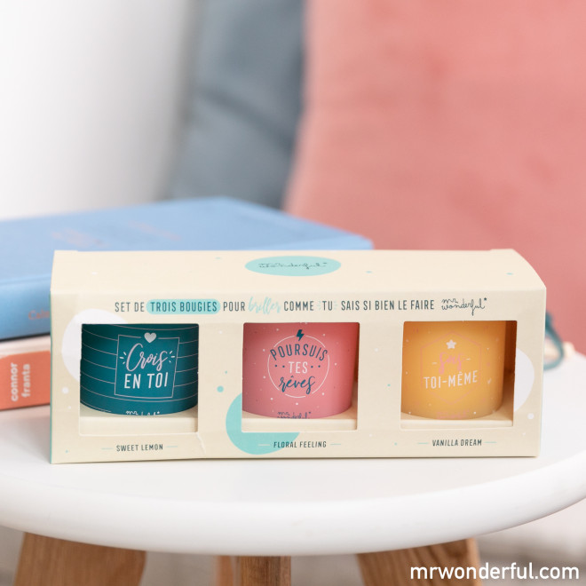 Set de trois bougies pour briller comme tu sais si bien le faire