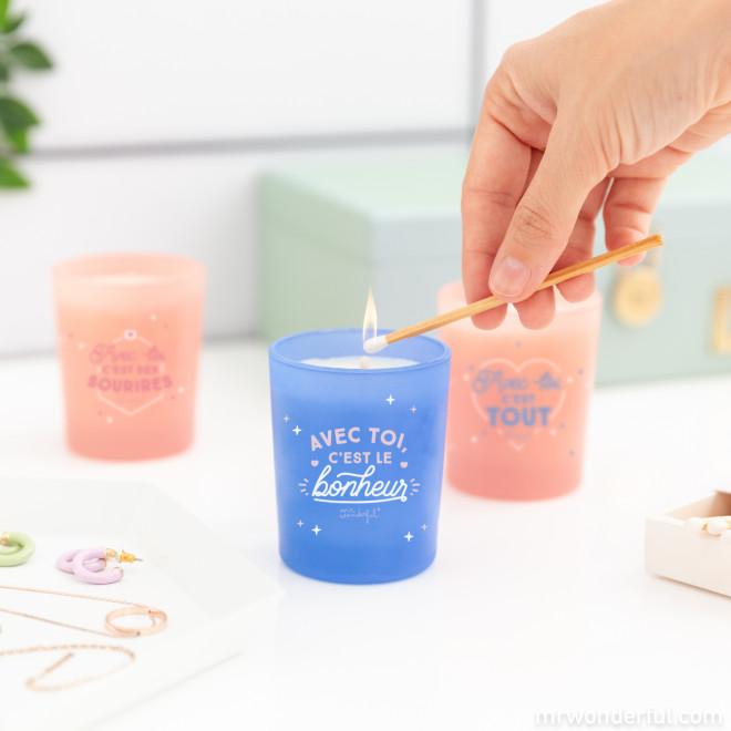 Set de 3 bougies pour les couples dont la flamme est allumée