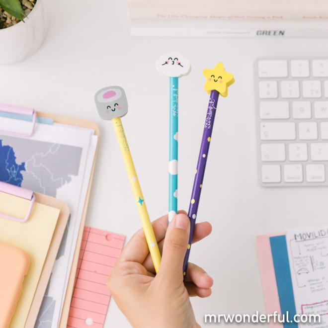 Set de crayons avec gommes en forme de personnages