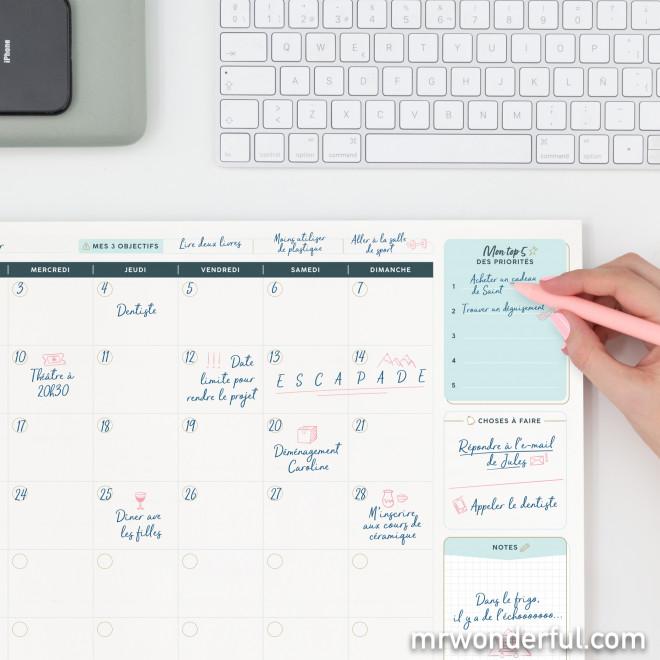 Organisateur mensuel de bureau