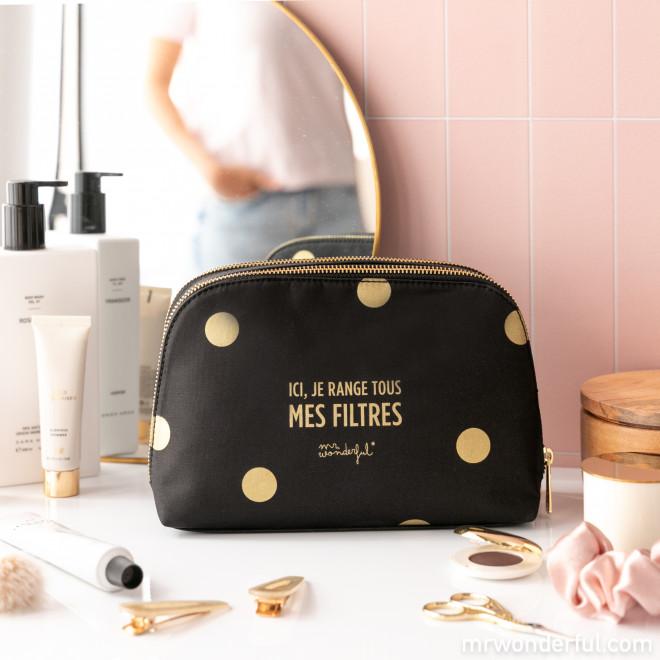 Trousse de toilette Black&Gold - Ici, je range tous mes filtres