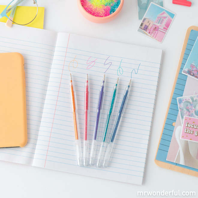 Set of 5 glittery pens - Go forth and shine