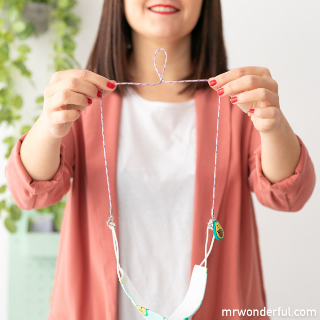 Lanyard cinta portamascarillas - Aguacate