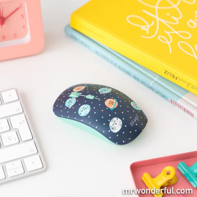 Souris sans fil avec coques interchangeables - Planètes et beignets