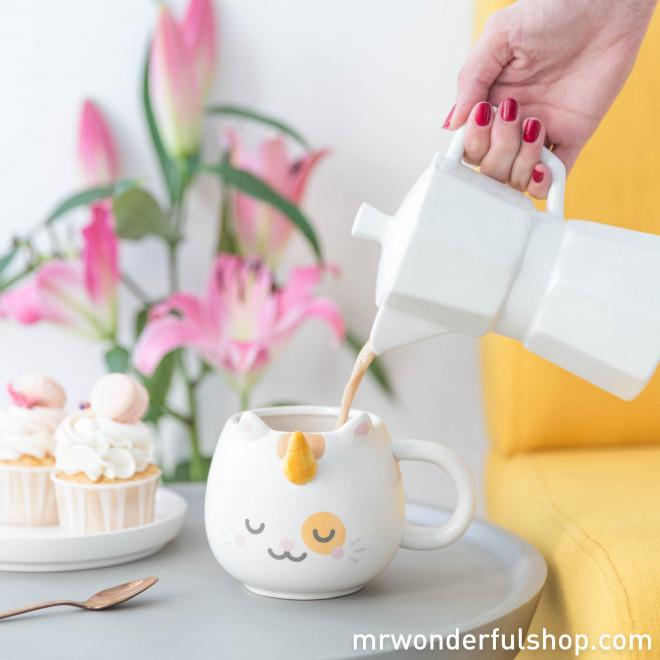 Tasse blanche chat licorne