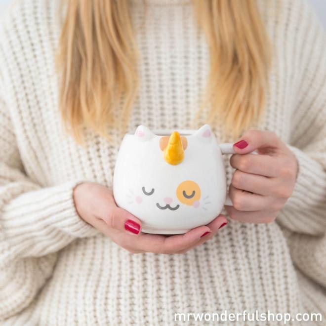 Tasse céramique chat licorne
