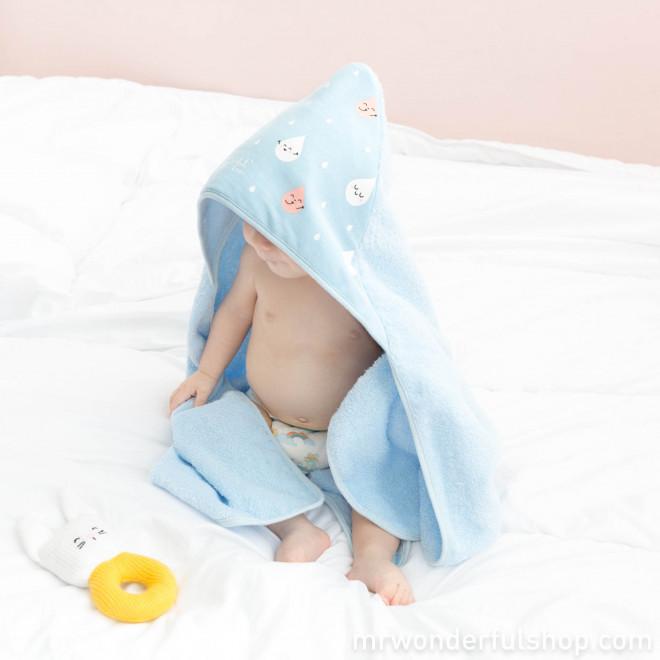 Sortie de bain bleue bébé