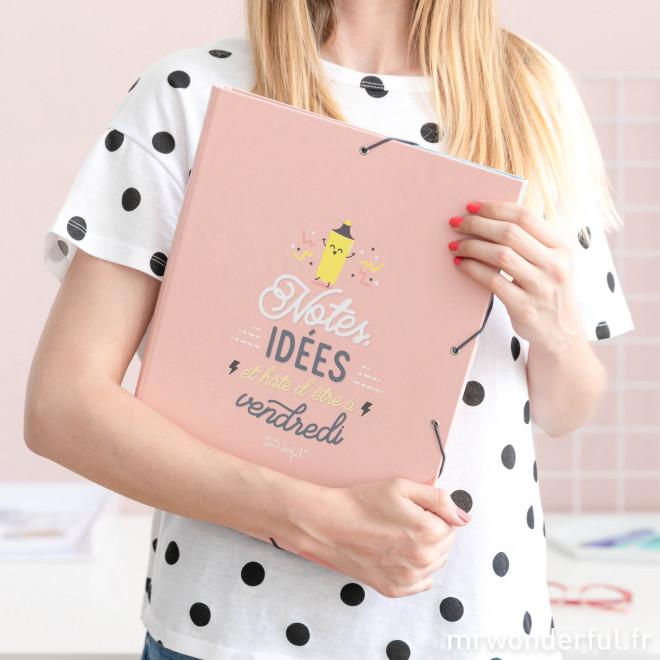 Chemise à intercalaires - Notes, idées et hâte d'être à vendredi