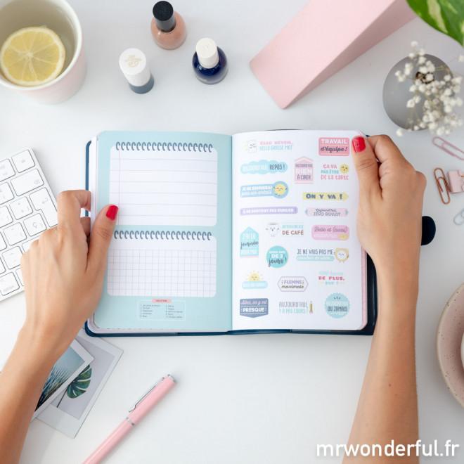 Agenda classique petit format 2018 - 2019 Modèle journalier - Tout ce que je promets de terminer