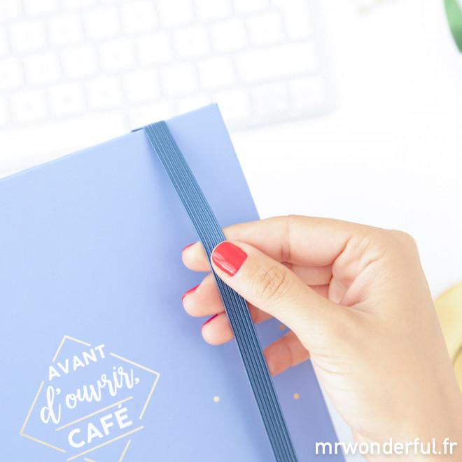 Agenda annuel bleu à anneaux 2019 - Avant d'ouvrir, café