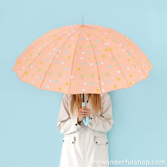 Parapluie grand format corail - Imprimé gouttes d'eau
