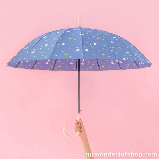 Parapluie grand format violet - Imprimé nuages
