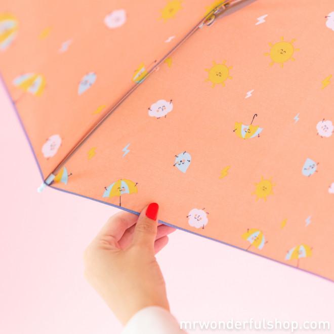Paraguas mediano morado - Estampado interior gotas